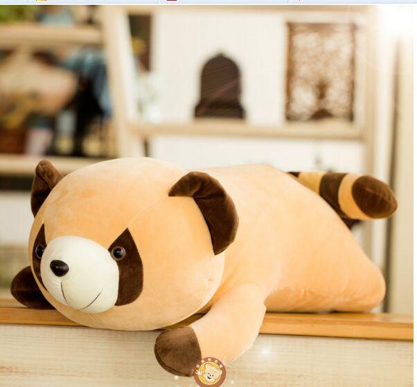 Gros jouet en peluche raton laveur en peluche couché poupée raton laveur cadeau jouet environ 80 cm