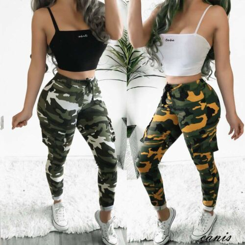 High waist   pants   camouflage Slim Fit joggers women army harem camo   pants   streetwear punk black cargo   pants   women   capris   trousers