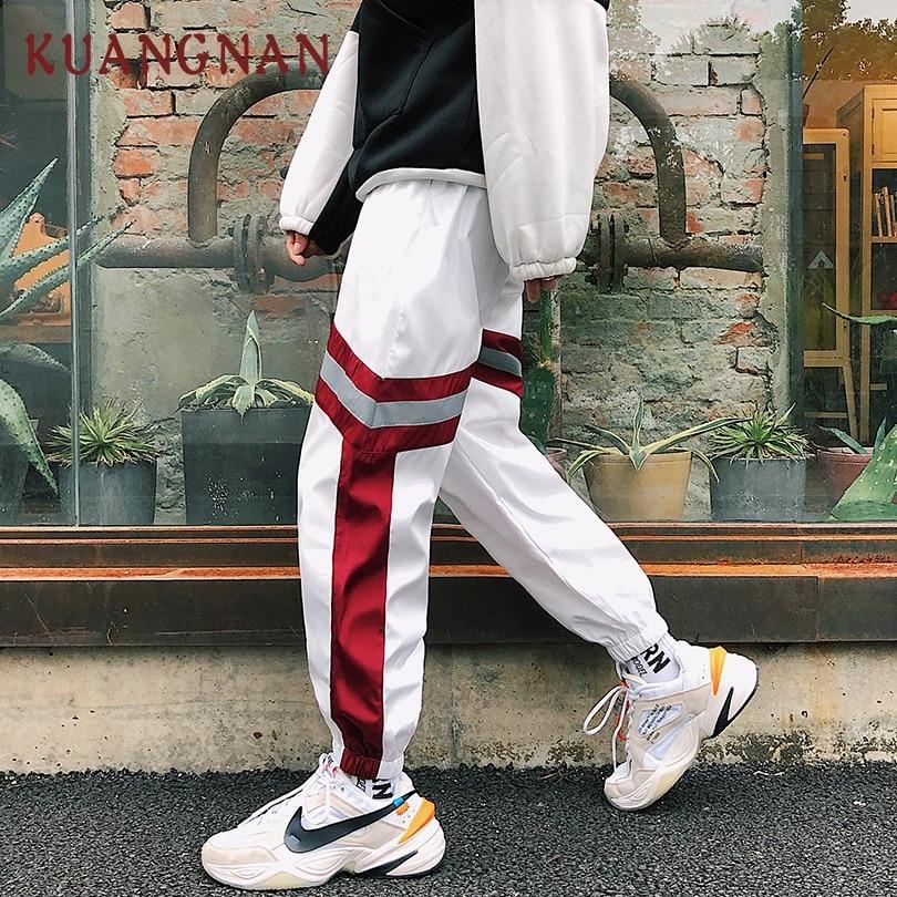 KUANGNAN Men Harem-Pants Reflective Joggers Streetwear Casual XXL