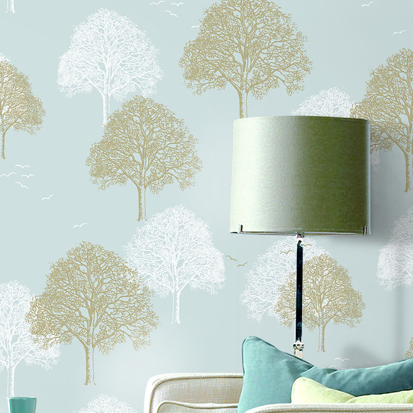 10M Roll Modern Simple Art Trees Forests on Light Blue Wallpaper Wall Decal DIY Decorating Family Wall Home Background abm sharif hossain and fusao mizutani dwarfing peach trees grafted on vigorous rootstocks