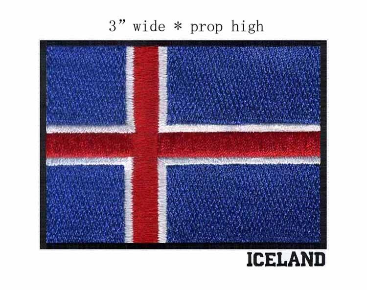 3d0391169bc20 أيسلندا 3 واسعة التطريز العلم التصحيح ل الأحمر الأبيض الأزرق مع الأسود  مخطط لوازم الخياطة دراجة سترة