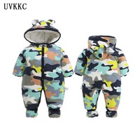 UVKKC 2018 NEW Baby Rompers Camo Long Sleeve Hooded Jumpsuit Kids Newborn Outwear Winter Thick Warm