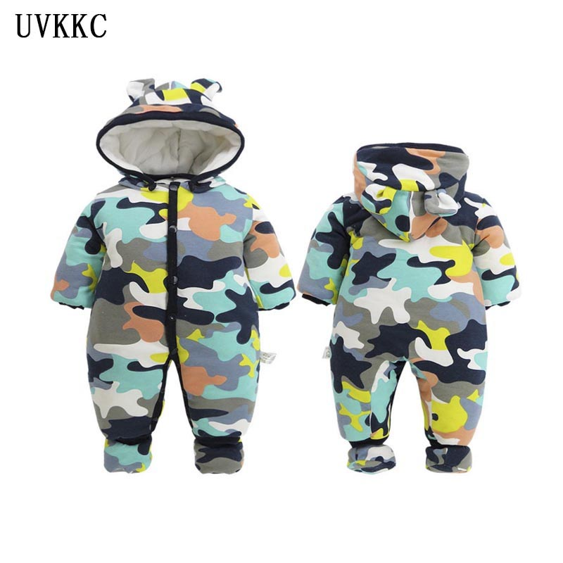 UVKKC 2018 NEW Baby Rompers Camo Long Sleeve Hooded Jumpsuit Kids Newborn Outwear Winter Thick Warm Baby boys girls Clothing set 2017 new baby rompers winter thick warm baby girl boy clothing long sleeve hooded jumpsuit kids newborn outwear for 1 3t