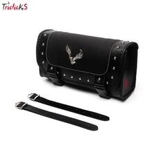 цена на Triclicks Universal Eagle PU Leather Saddle Bags Motorcycle Saddlebag Side Storage Tool Bag For Harley Softail Dyna Sportster
