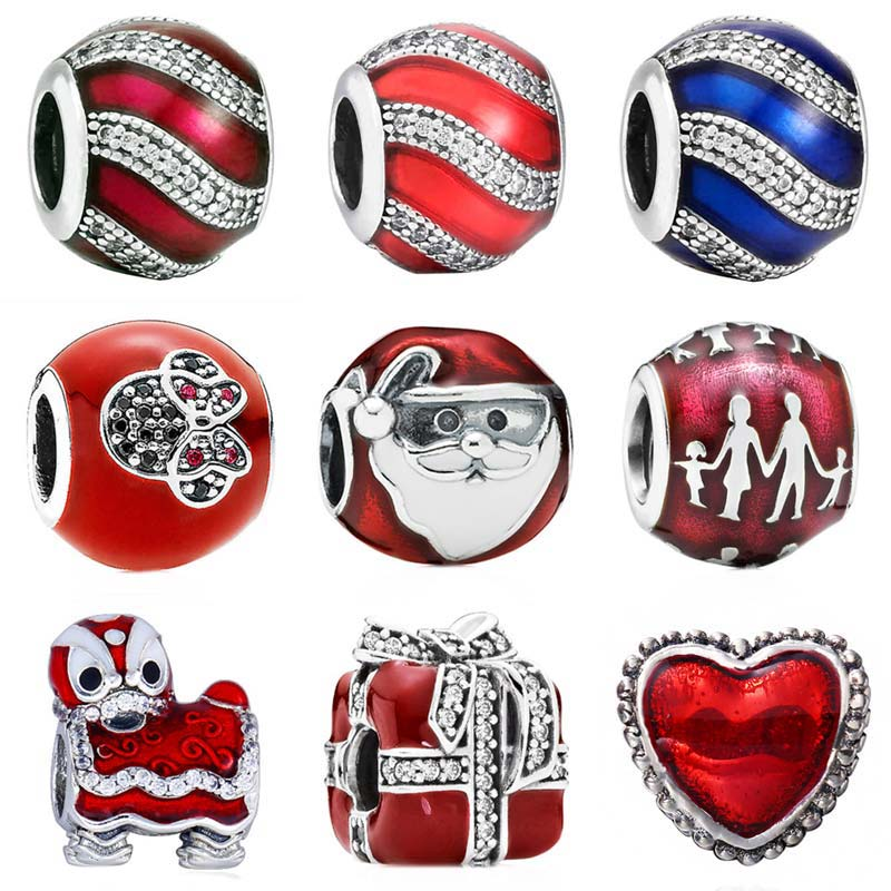 Rot Emaille Chinesische Lion Dance Geschenk Familie Silhouette Schmuck Charme Fit Pandora Armband 925 Sterling Silber Perle Charme Schmuck