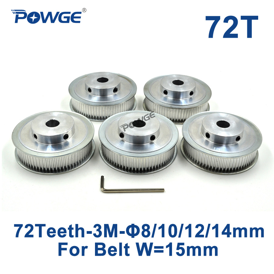 POWGE 5pcs 72 Teeth HTD 3M Timing Pulley Bore 8mm 10mm 12mm 14mm for Width 15mm 3M Synchronous belt pulley HTD3M 72T 72Teeth CNC powge 1pcs steel 18 teeth htd 3m timing pulley bore 8mm for width12mm 3m timing belt rubber htd3m pulley belt tooth 18t 18teeth