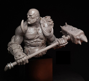 Image 4 - Unpainted Kit 1/10  ancient Orcish with big Axe bust fantasy   Resin Figure miniature garage kit