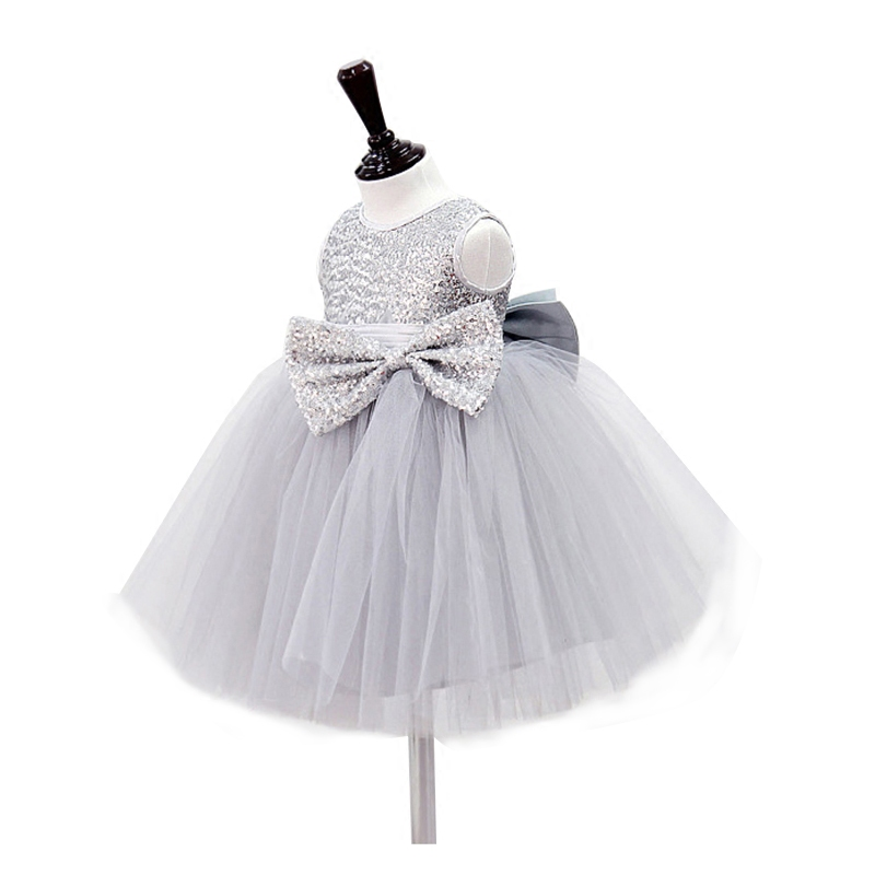 BBWOWLIN Baby Gilr Dress Gray Sequins Sleeveless Vestidos Christmas Wedding Party Dresses for Vestido Festa Infant Dress 9048