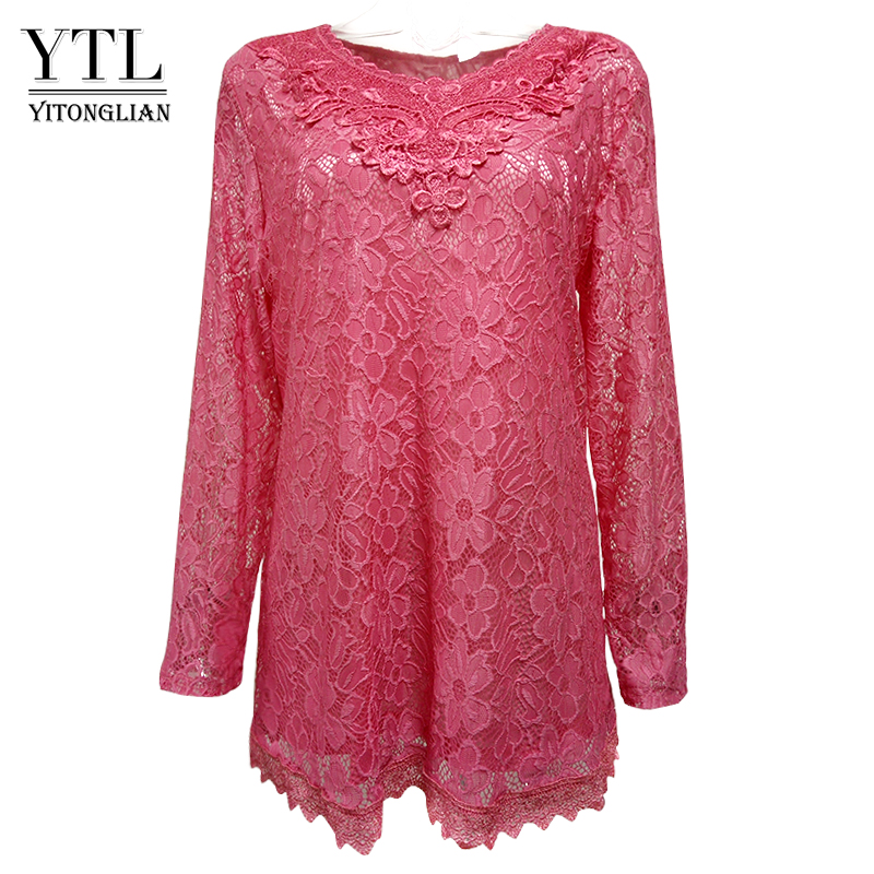 YTL Women Plus Size Retro Solid Pink Floral Lace Blouse Long Sleeve V Neck Crochet Tunic Top Ladies Shirts Tee 6XL 7XL 8XL H026ladies shirtstops ladiesfloral lace -