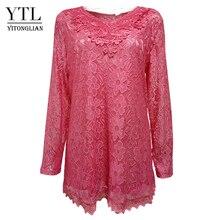 YTL נשים בתוספת גודל רטרו מוצק ורוד פרחוני תחרה חולצה ארוך שרוול V צוואר סרוג טוניקה למעלה גבירותיי חולצות טי 6XL 7XL 8XL H026