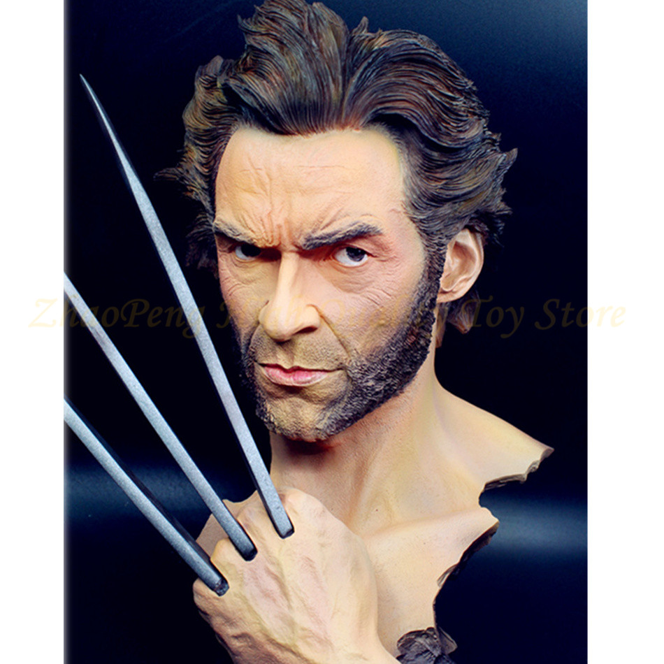 3 Multi 30 CM X-MEN Wolverine bust figure statue action resin anime moving claws giving base free e-ems good gift kids toys mw100 e 1w used good in conditon with free dhl ems