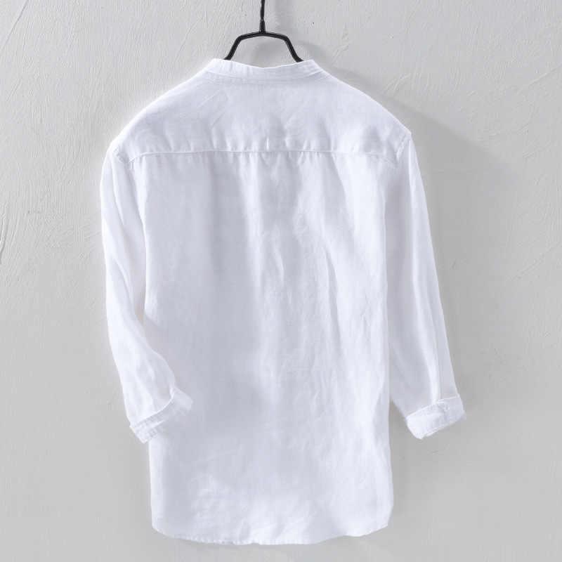 男性の100%リネンシャツ長袖カジュアルスリムマンダリン襟シャツ高品質の男性ビジネス亜麻ドレスシャツ男性TS-411