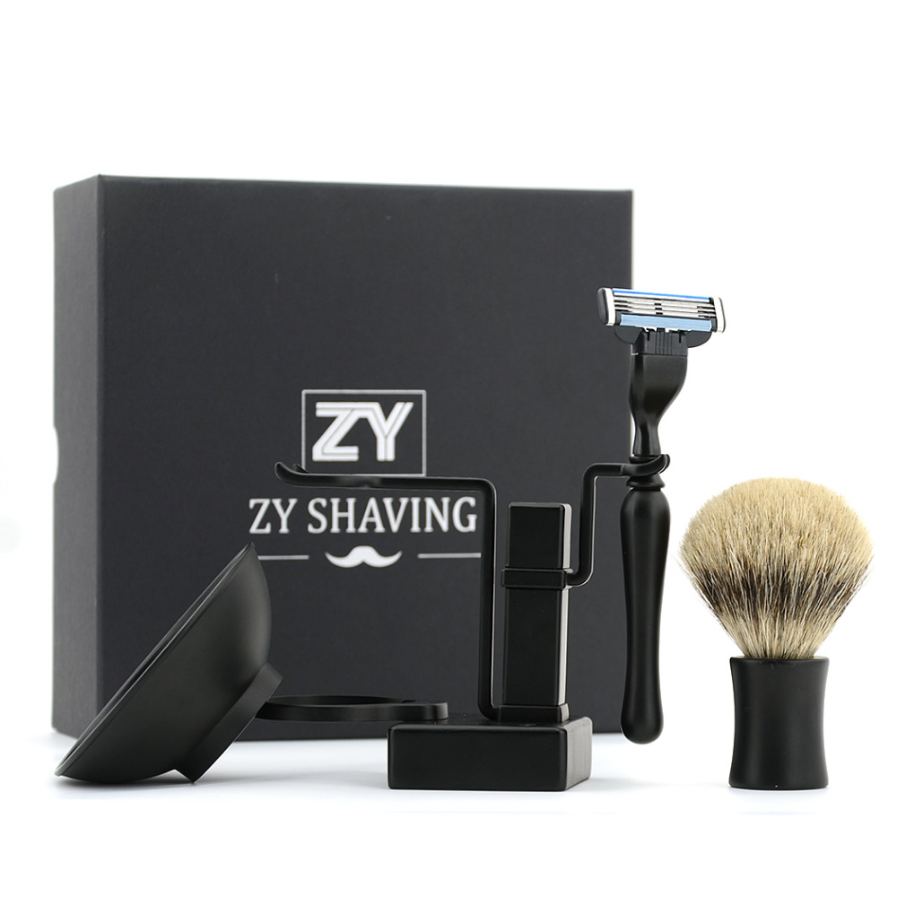High-end 3 Layer Double Edge Safety Razor Kit Black Classic Shaving Razor Badger Shaving Brush Stand Holder Beard Soap+Gift Box