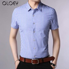 OLOEY short sleeve shirt men 2019 summer slim fit business shirts Blue male fashion striped mens blouse casual  boss