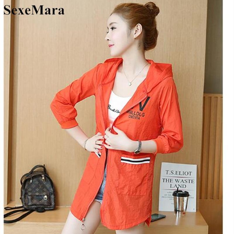 SexeMara 2019 Summer New Female Long-sleeved Sun Protection Clothing Women Sunscreen Coat Fashion Solid Hooded Loose UV Jacket 46