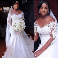 בציר אפריקאי בת ים שמלות כלה 2020 Vestido דה Noiva ארוך שרוול תחרה חתונה שמלות שחור ילדה נשים שמלת הכלה