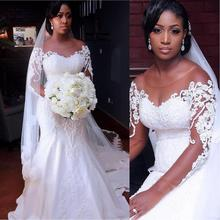 Vintage African Mermaid Wedding Dresses 2019 Vestido De Noiva Long Sleeve Lace Gowns Black Girl Women Bride Dress