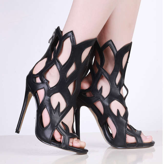 baabdc399ed Patent Leather Peep Toe High Heels Cut-outs Women Sandals Shoes Woman  Back red
