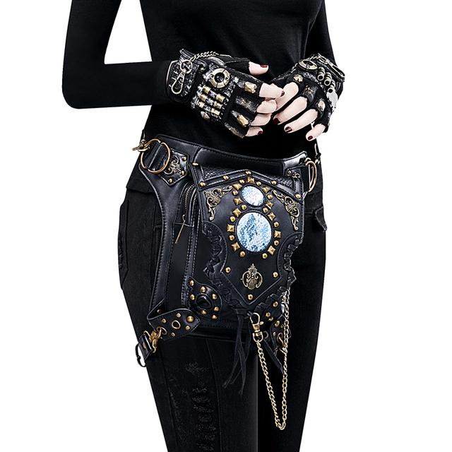 Gear Duke Womens Steampunk Bags Gothic Messenger Handbag Shoulder Bag Vintage Fashion Retro Rock Waist Pack Small Leg Bag 2018