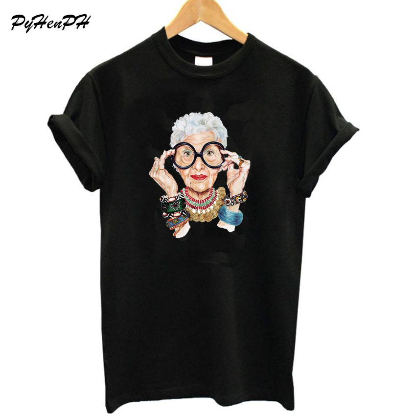 New 2018 Summer  Tumblr Fashion Old Women Print T Shirt Women Cotton O-neck Short Sleeve  Tops For Women Kawaii Tshirt