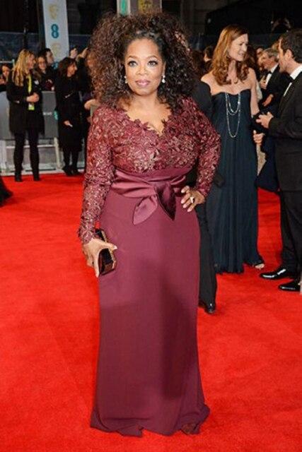 New Arrival Burgundy Long Sleeve Lace Chiffon Celebrity