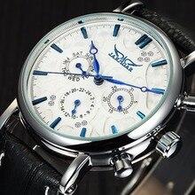 JARAGAR Top Marca Mens Relógios de Luxo Moda Diamond Casual Homem de Couro Relógios Mecânicos Automáticos Esqueleto Relogio masculino