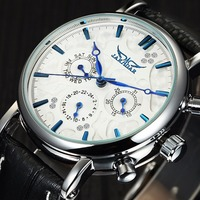 JARAGAR Top Luxury Mens Watches Fashion Casual Diamond Man Automatic Mechanical Watches Leather Skeleton Relogio Masculino