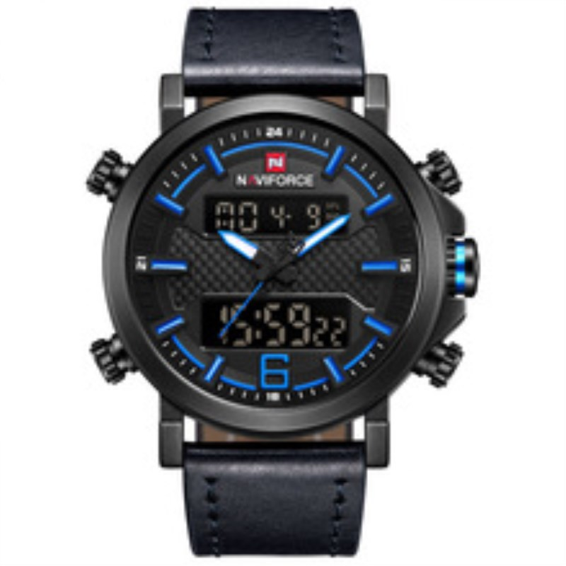 Watch Men Sport Mens Watches Top Brand Luxury Military Army Leather Band Analog LED Digital Quartz Male Clock Relogio NAVIFORCE naviforce men watch digital analog sport mens watches top brand luxury military stainless steel led quartz male clock box 9093
