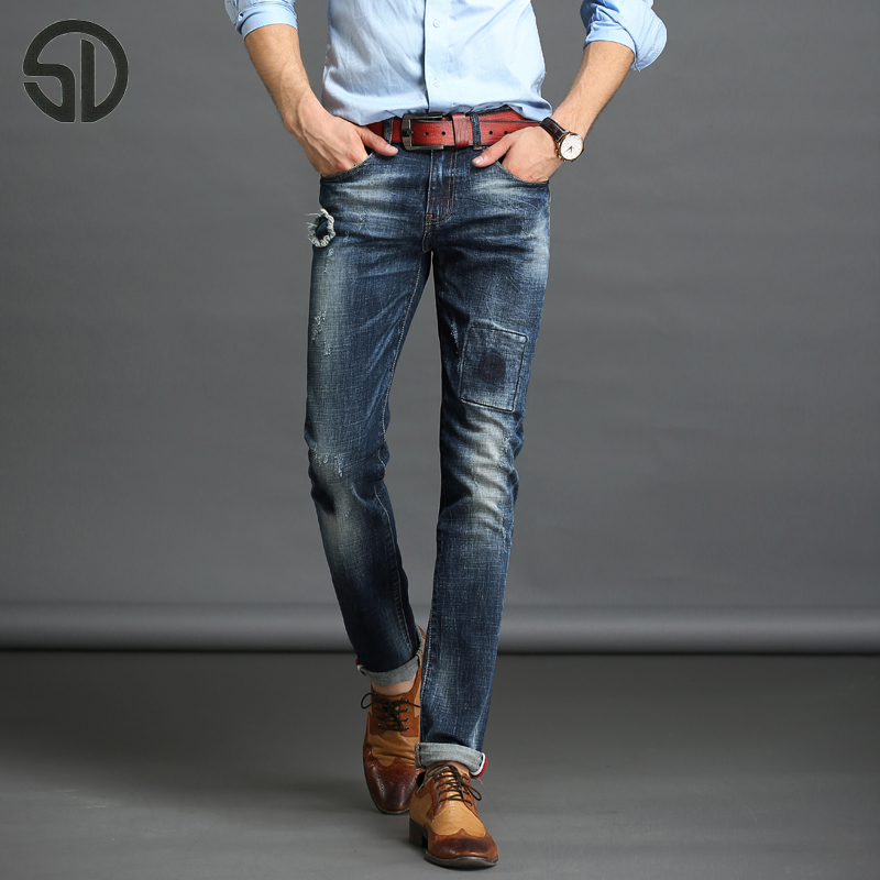 Jeans Men Denim Blue Ripped Jeans Trousers High Quality Cotton Mens Brand Jeans Pants For Men Slim Fit skinny Jeans Male 16016 2017 slim fit jeans men new famous brand superably jeans ripped denim trousers high quality mens jeans with logo ue237