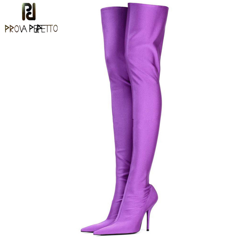 Prova Perfetto Candy Color Over The Knee Boots Women Sexy Point Toe Stiletto High Heels Thigh High Botas Elastic Sock Long Boots spring autumn silk elastic over the knee boots women stiletto heel thigh high botas mujer candy color wedding party dress shoes