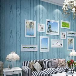 البحر الأبيض المتوسط نمط الأزرق الأبيض الخشب لوحة ثلاثية الأبعاد غير خلفية قماش لفة غرفة المعيشة غرفة نوم خلفية ورق الحائط دي Parede