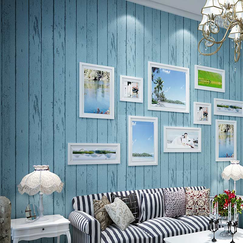 Mediterranean Style Blue White Wood Panel 3D Non-Woven Wallpaper Roll Living Room Bedroom Backdrop Wall Covering Paper De Parede