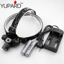YUPARD XM-L2 LED  T6 LED  Headlight camping fishing  Waterproof  2 Modes Headlamp+2*4200mAh 18650 rechargeable Battery +charger