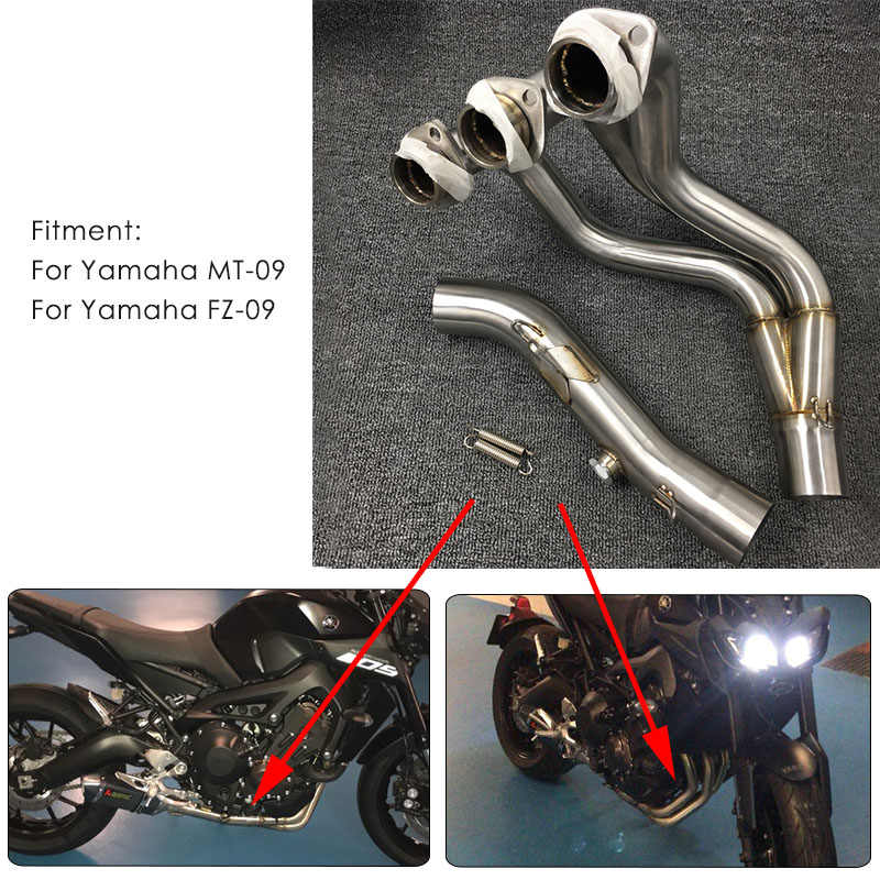 Motorcycle Modified Exhaust Muffler Middle Front Link Pipe Connector For  Yamaha MT-09 FZ-09 MT09 MT 09 FZ 09 (Not For Tracer)