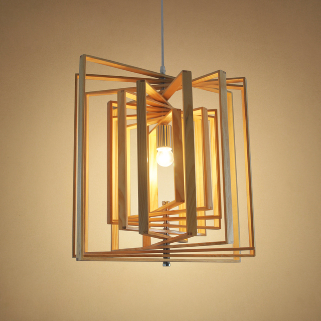 Solid Wooden Pendant Lamps Nordic Wood Bar Restaurant Simple Chinese Log Chandelier Cafe Hallway