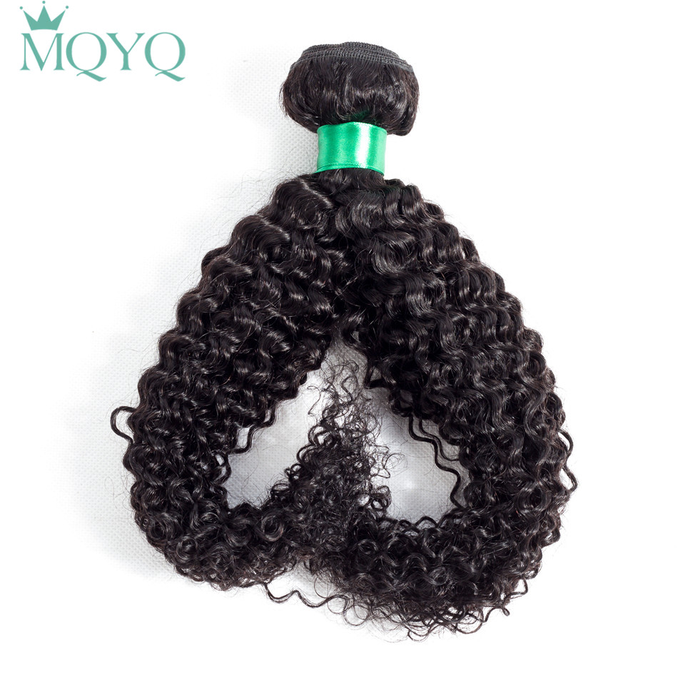 MQYQ Peruvian Curly Human Hair Weave Bundles 100g 1piece Natural Color Non Remy Hair 100% Human Hair Weft Kinky Curly
