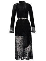 2018 Autumn Gothic Maxi Dress lace Women Skull Print Black Casual Long Dress Vintage Slim Party Sexy Retro Gothlace Dress