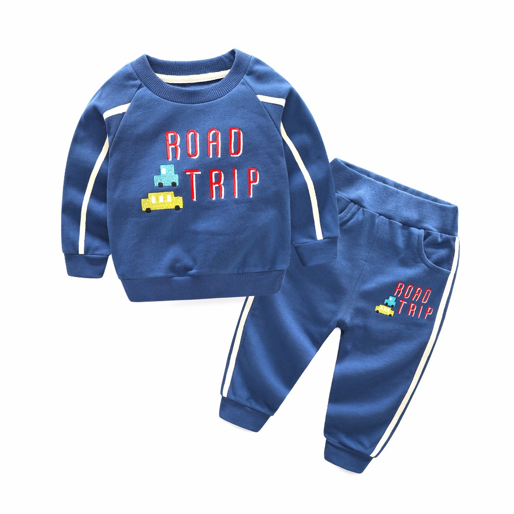 Children Clothing 2018 Spring New Cotton Korean Kids Sports Suit Casual T shirt Long Pants 2 PCS Set Boys Cartoon O-neck Hoodies free shipping children clothing spring girl three dimensional embroidery 100% cotton suit long sleeve t shirt pants