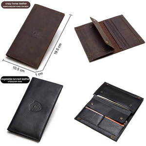 Image 5 - CONTACTS crazy horse genuine leather mens long wallet for cell phone vintage hasp clutch wallets male card holders slim purse