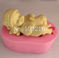 Free Shipping 1pcs Mini 3D Face Upwards Sleep Angel Baby FM342 Silicone Handmade Fondant Cake Decorating