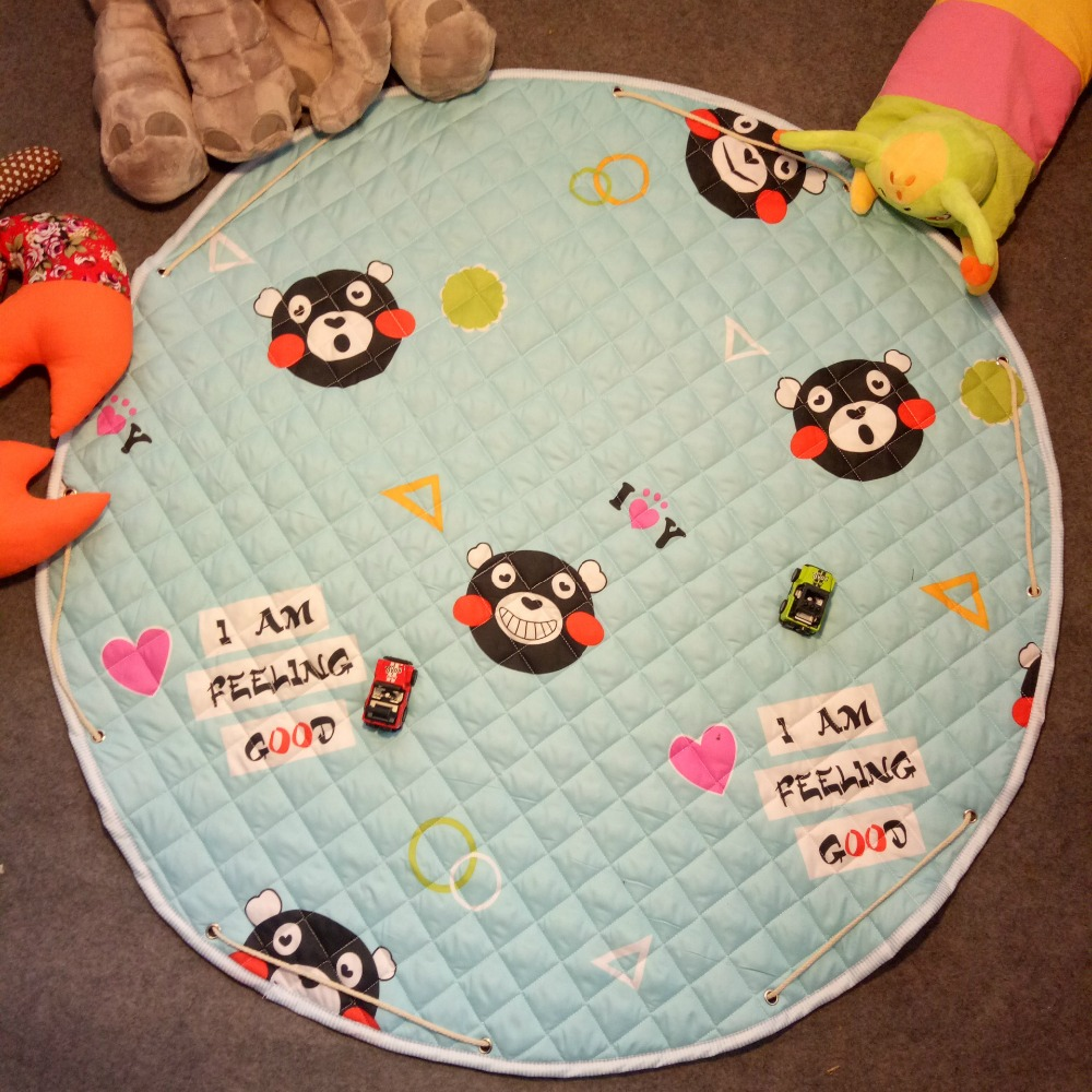 Round polyester cotton quilted mat baby crawling mats Kids Gym Rug Play Game Mat Baby Toys Pouch Storage Baby Crawling Blanket