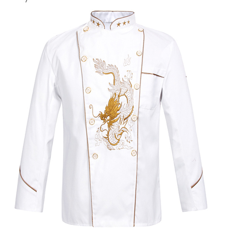 New Men Women Embroidery Dragon Cook Uniform Short Sleeve Kitchen Work Wear Mesh Patchwork Breathable Food Service Chef Jacket