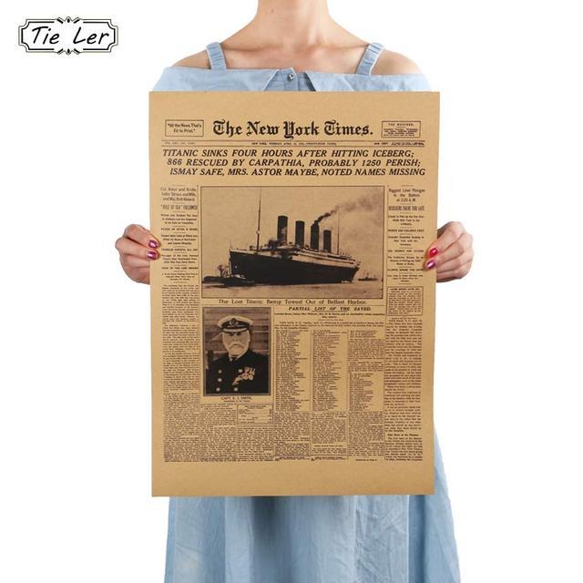 AMARRAR LER Clássico História Do The New York Times Jornal Velho Retro Kraft Papel Poster Titanic Naufrágio de Decoração Para Casa