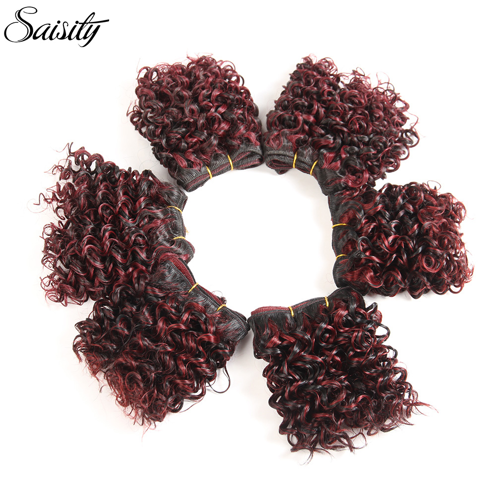 Saisity Ombre Hair Bundles Afro Kinky Curly Hair 6 Inch Short Synthetic Hair Weaving Afro Braiding Jerry Curl Extension Weave