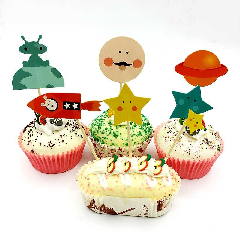 Peachy 24Pcs Rocket Ship Dog Cosmic Planet Stars Alien Robot Cupcake Funny Birthday Cards Online Overcheapnameinfo