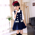 Nuevo 2015 otoño invierno de las muchachas sin mangas niñas adolescentes de algodón-como el vestido kids niños estudiante vestido vestidl Infanti