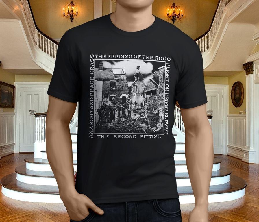 T Shirt Shop Short Men Funny Crew Neck Crass Punk Rock Band Music T Shirt