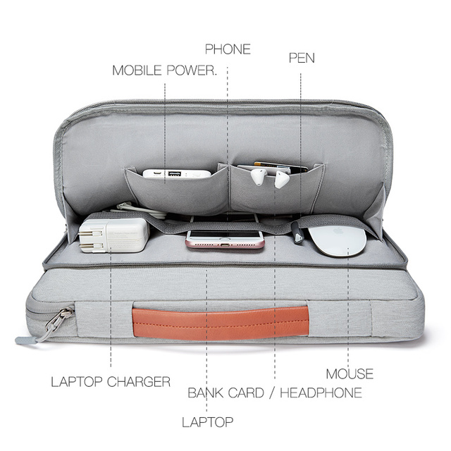 Gray Casual Color Bag Sleeve For Laptop And Macbook Air & Pro 3