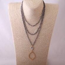 MOODPC модное богемное племенное кустарное ювелирное изделие, мини серебряное ожерелье с кристаллами в виде ракушки, очаровательные бусины для губ, завязанное длинное ожерелье для женщин