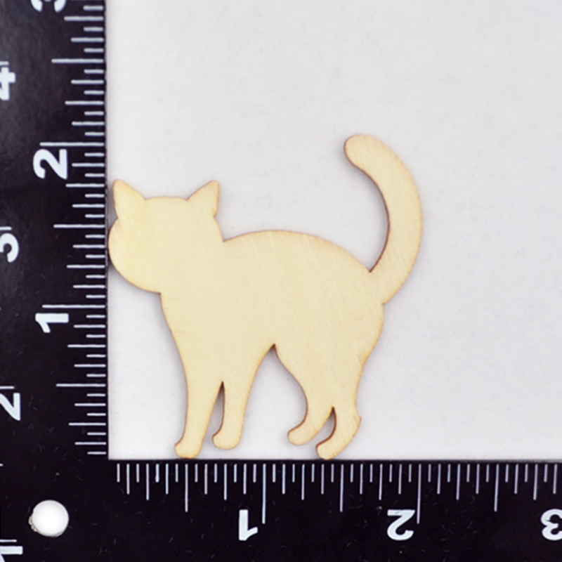 Happymems Wholesale Wood Shape Cute Cats 100pcs DIY Craft Home Decoration Wall Stick For Scrapbooking Wooden Cat Shapes in Figurines Miniatures from Home Garden
